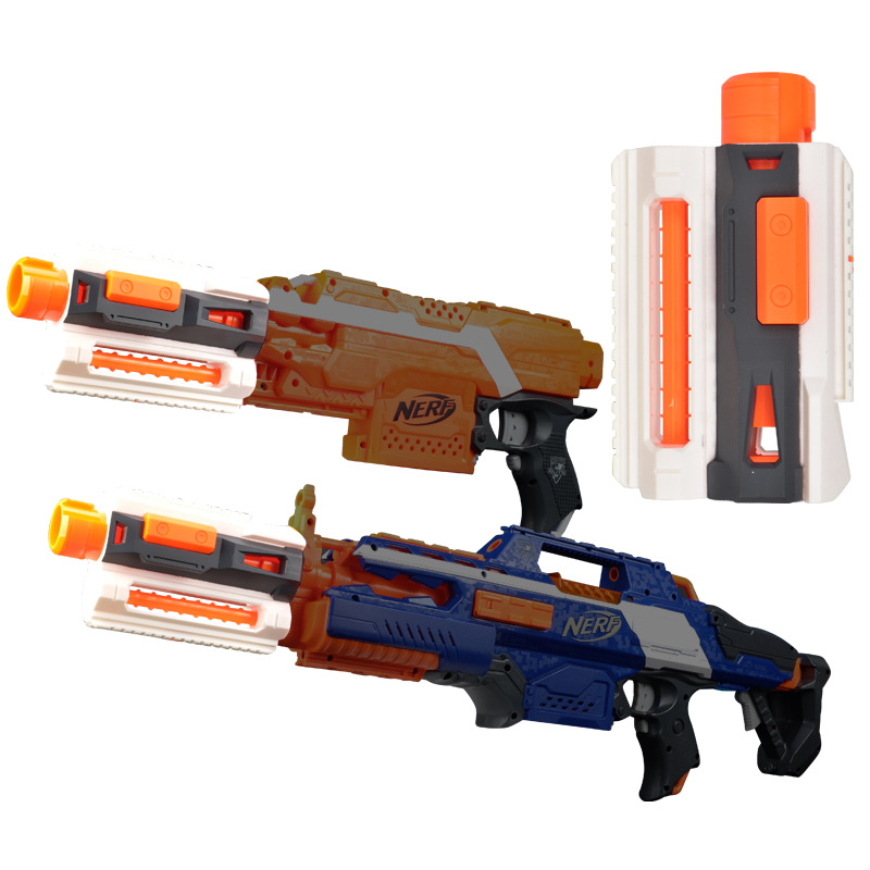 1 Pcs Modified Part Front Tube Decoration With Upper And Lower Guide Rail For Nerf Elite Series Orange Grey For Nerf Toy Gun Mod