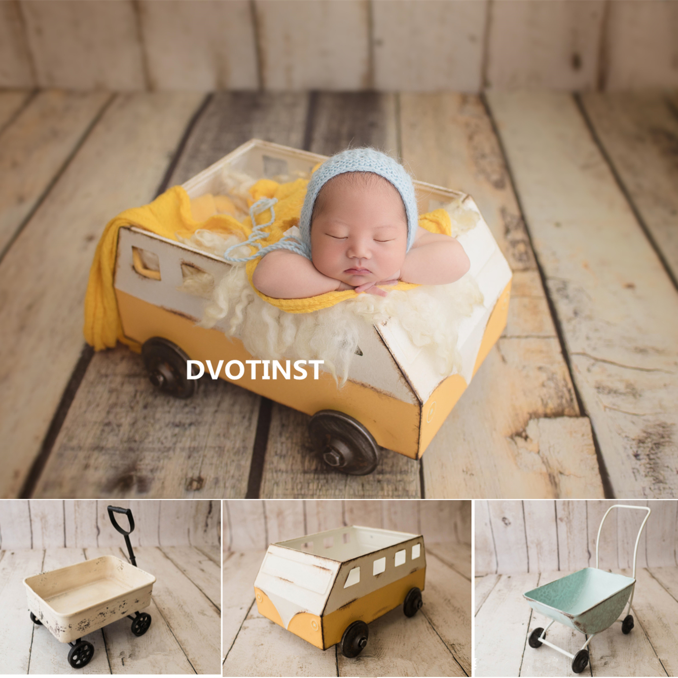 Dvotinst Newborn Photography Props Retro Posing Trolley Handcart Iron Mini Bus Fotografia Accessories Studio Shoot Photo Props