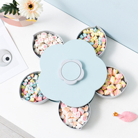 050 Multi function Fashion Flowers rotate open and close snack candy boxes snack plates 27*27*8.5cm
