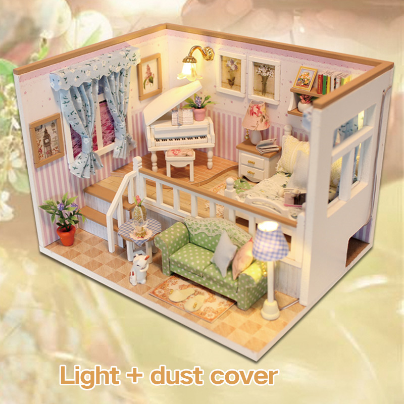 Doll House Miniature DIY Dollhouse With Furnitures Wooden House Stars Sky Toys For Children Birthday Gift M026 image