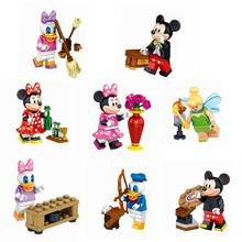 LELE 37005 Cartoon Figures Minnie Donald Duck Daisy Tinker Bell Dolls Building Block Toys For Children Gift With Legoing Cartoon(China)