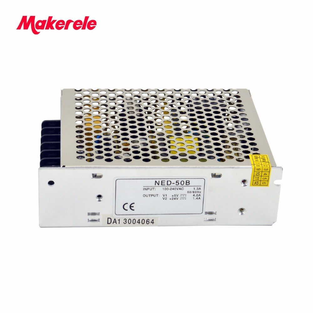 50W 5V 24V Dual Output Power Supply AC to DC NED-50B wholesale CE SMPS volt switching power supplies 2017 new up hamlet ned r
