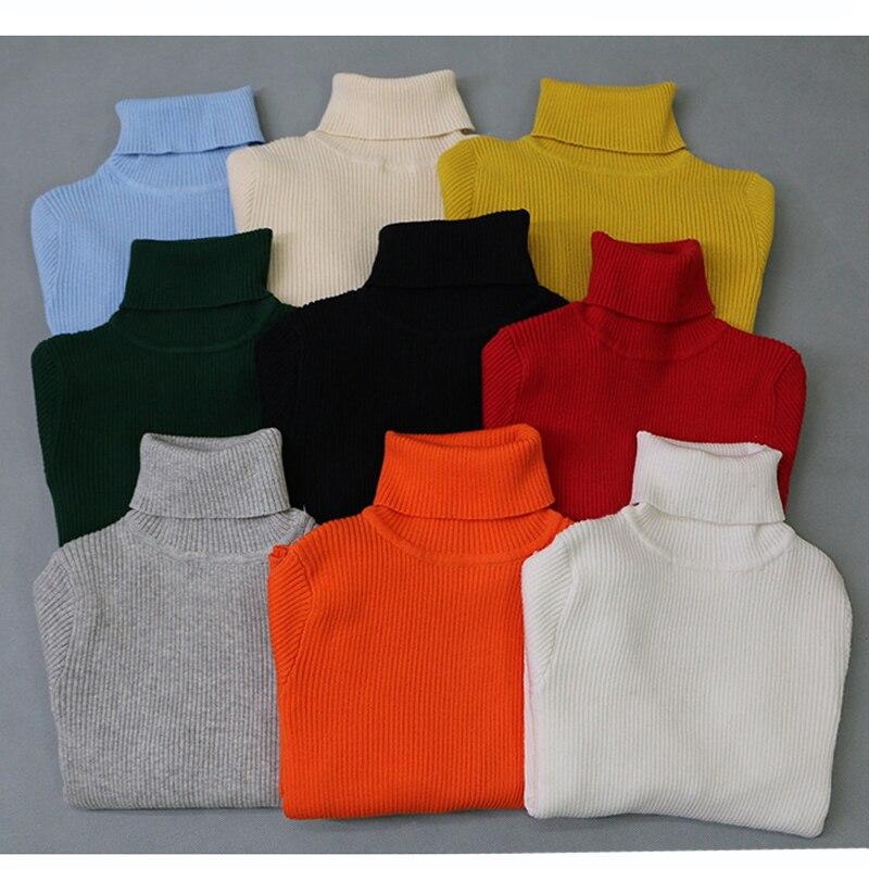 2019 outono bebê meninos meninas gola alta suéteres camisola crianças suéteres para o inverno de malha de fundo meninos suéteres vetement enfant