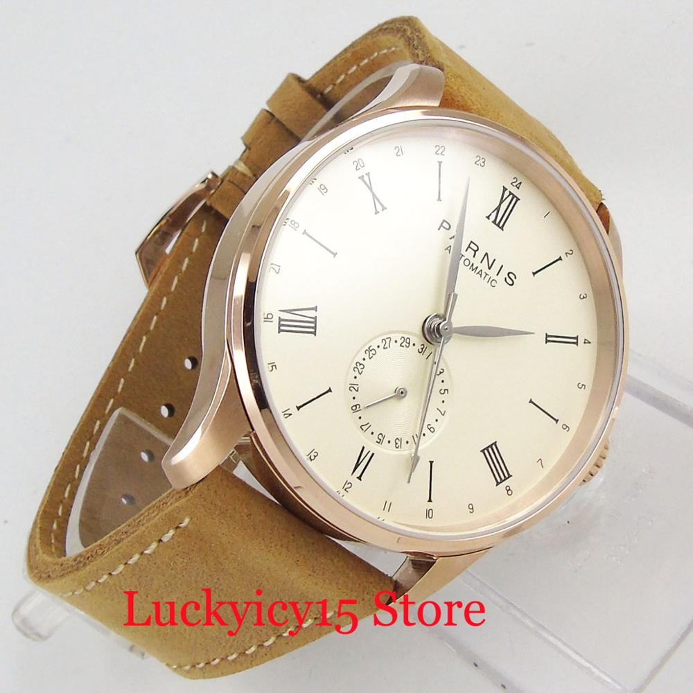 PARNIS 42mm 24 hours Auto Date Automatic Men's Watch Rose Golden Case ST1690 Movement(China)