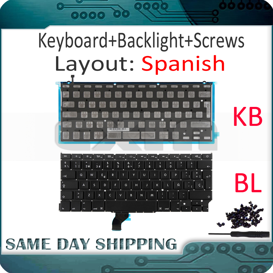 New for Macbook Pro Retina 13 A1502 Spanish Spain Sp Keyboard w/ Backlight Backlight+100Pcs Keyboard Screws 2013 2014 2015 Year image