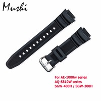 Rubber Strap For Casio AE 1000w AQ S810W SGW 400H SGW 300H Silicone Watchband Pin Buckle