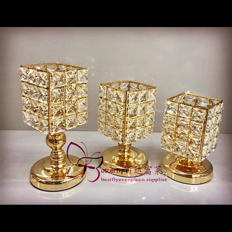 3Pcs Crystal Candle Holders Wedding Centerpieces -