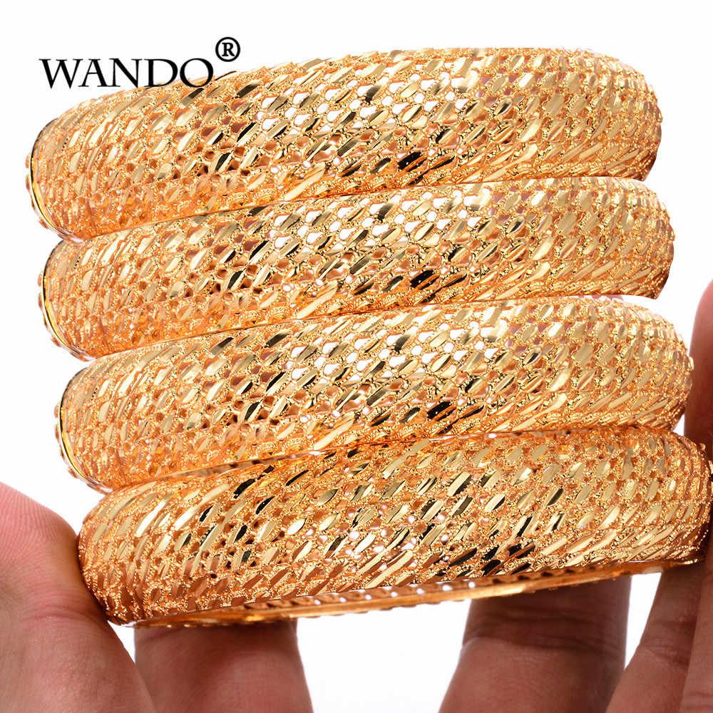 WANDO 4pcs/lot Wedding Jewelry For Women Girls wide Bracelets Gold Color Elegant Arab/Ethiopian India Bridal Bangles Party Gifts