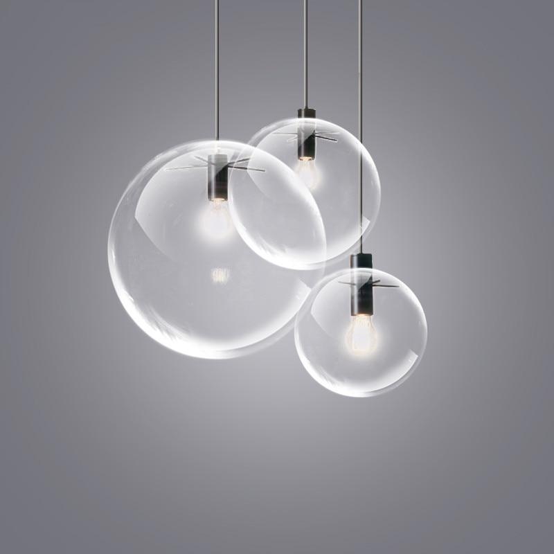 Nordic Pendant Lights Globe Chrome Lamp Glass Ball Pendant