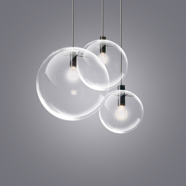 Nordic Pendant Lights Globe Chrome Lamp Glass Ball Pendant Lamp E - Kitchen pendant lighting globes