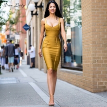Deer Lady Bandage Dress New Arrivals Summer Yellow Bodycon Dress V Neck Spaghetti Strap Autumn Bandage Dress Party Women