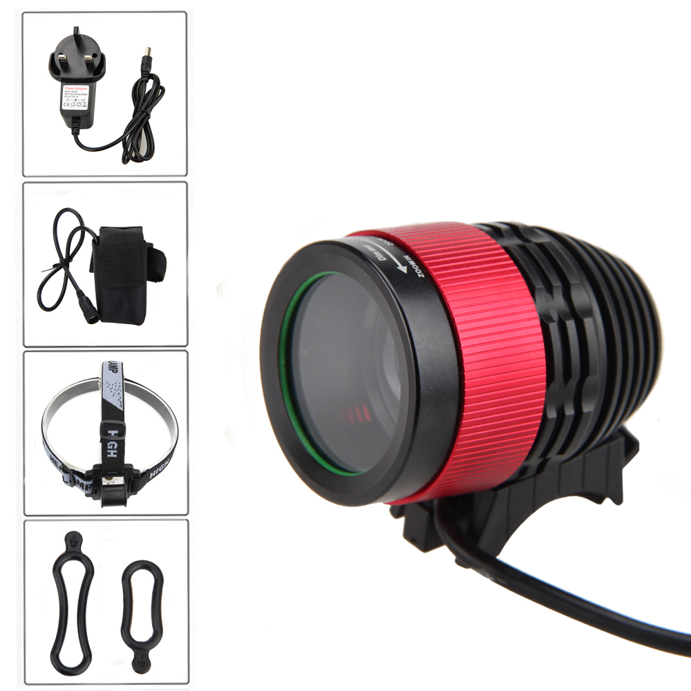 Zoomable Bike Lamp 2500LM XM-L T6 LED Headlamp 4 Modes Front Bicycle Torch Cycling Light with  6400mAh Battery Pack Set 3800 lumens cree xm l t6 5 modes led tactical flashlight torch waterproof lamp torch hunting flash light lantern for camping z93