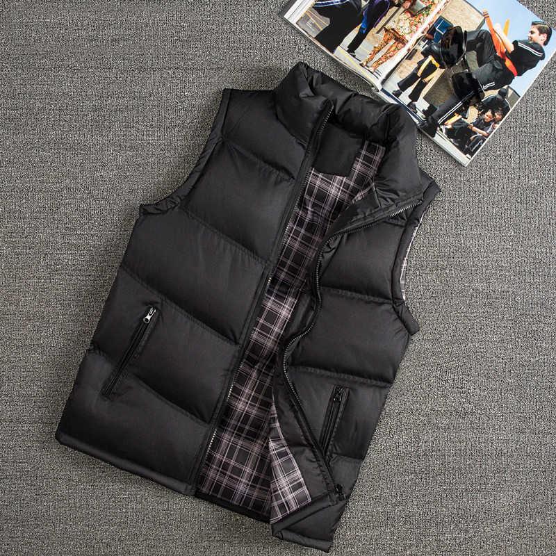 Новые зимние мужские жилеты Slim Fit Повседневный жилет мужские теплые жилеты без рукавов куртка со стоячим воротником мужские жилеты плюс размер мужские пальто