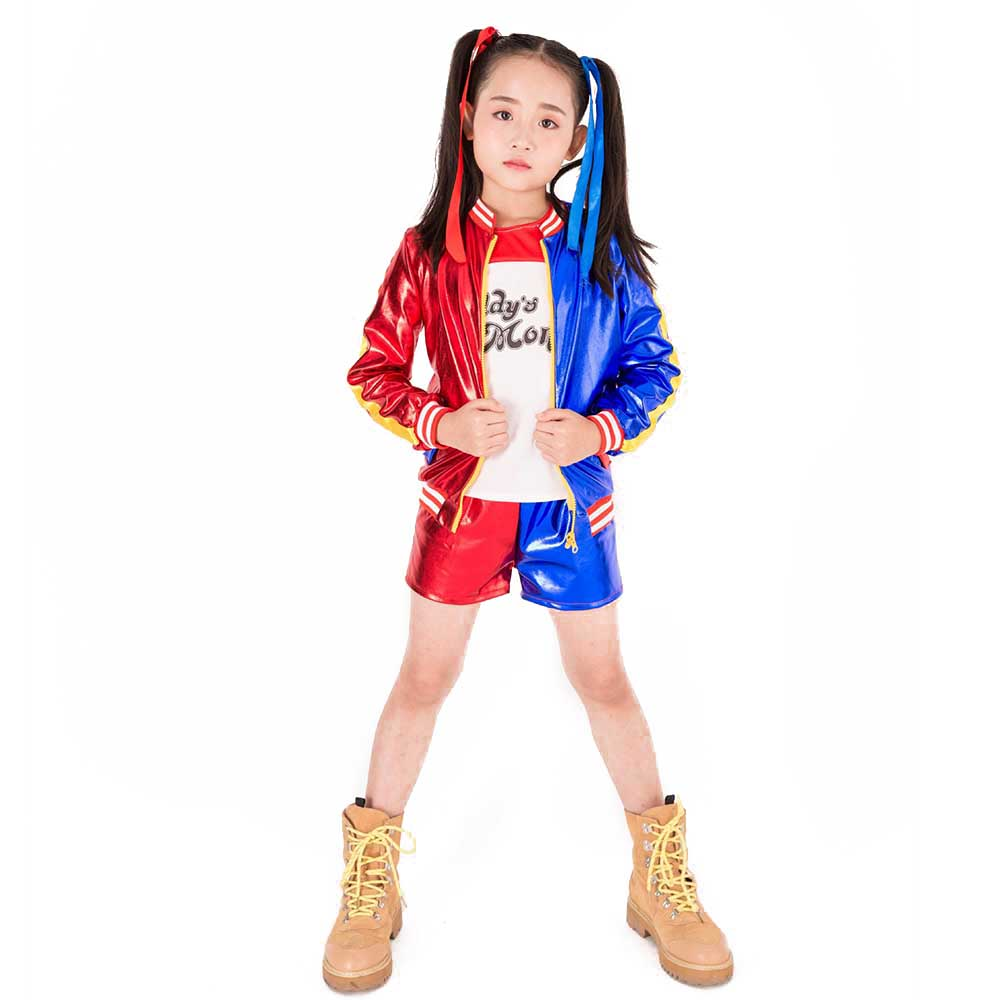 Kids Girls Harley Quinn Costume Set Suicide Squad Harley Quinn Cosplay Outfit Jacket T-shirt Shorts Halloween Costumes for Kids