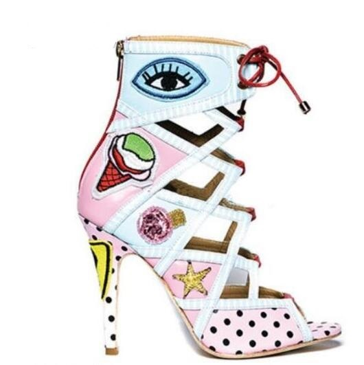 New fashion sexy open toe lace-up ankle boots colorful printed leather high heel boots 2017 Woman cut-outs sandal boots
