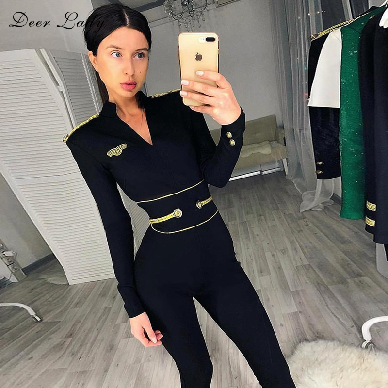 Deer Lady Rompers Womens Jumpsuit Party 2019 Long Sleeve Bandage Bodysuit Green V Neck Sexy Jumpsuit