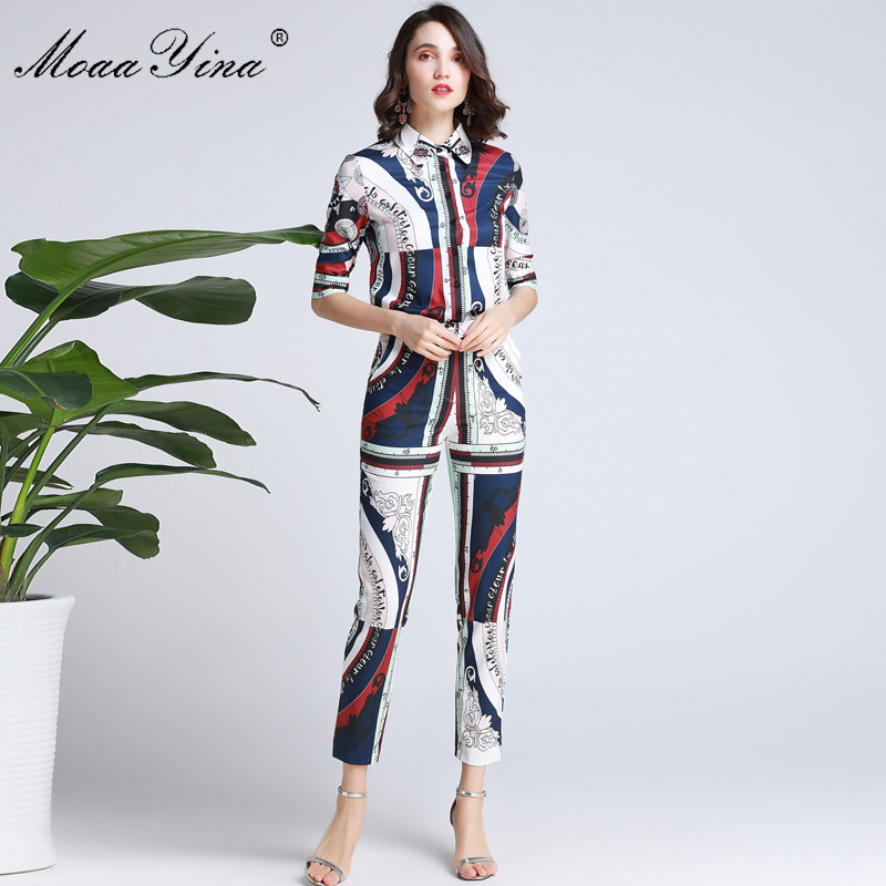 MoaaYina Fashion Designer Set Spring Summer Women Short sleeve  Geometric Print Shirt Tops+Pencil pants Two-piece suit