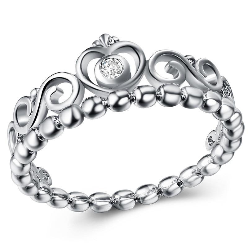 Модное Сверкающее циркониевое серебряное кольцо для женщин, цветочное сердце, корона, кольца на палец, фирменное кольцо, ювелирное изделие, Прямая поставка - Цвет основного камня: 29