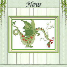 Dinossauros e elve fada linda diy contados impressão sobre tela pinturas needlework bordado Define 11CT 14CT DMC Cross Stitch kits(China)