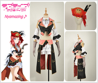 Nishikino Maki Cosplay Costume Love Live! Pirate Awakening Custom Half Sleeve Sexy Ruffles Girl Dress Vest Feather Hat Red Wig