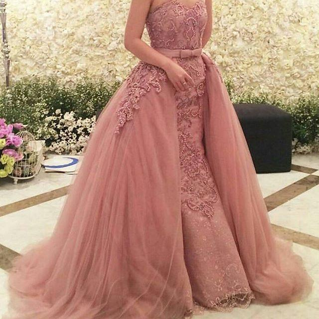 2017 Nude Pink Arabic Sexy Zuhair Murad Evening Dresses Dubai Beaded Appliques -1681
