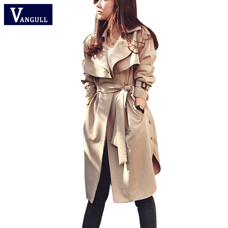 Spring Autumn Women Trench Coat 2018 New Fashion Long Outwear Plus Size Waist Slim Trench Coat for Women With Belt Spring Coat