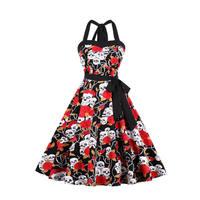 Womens Skull Head Print Sleeveless Halter Dress Retro Vintage 50s Ladies Plus Size Rockabilly Party Dress 2018 Summer Sundress