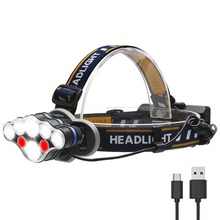 PANYUE Headlamp 6000 Lumen Headlight 2*T6+4*XPE+2*COB USB Rechargeable Head Flashlight Torch use 2* 18650 Rechargeable Battery