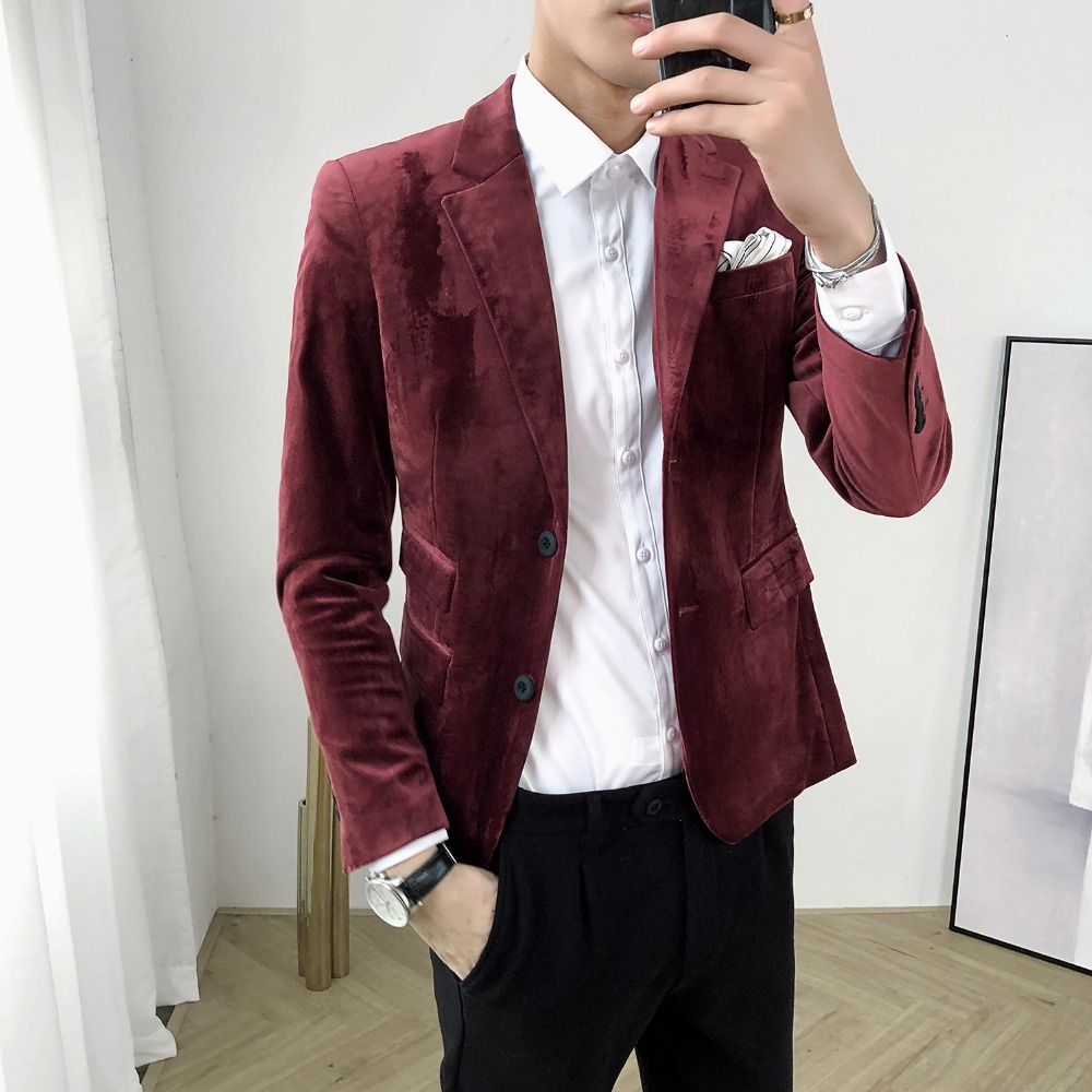 Autumn and winter tide brand gold velvet suit men's self cultivation youth velvet small suit men's casual corduroy net red jacke Blazers     - title=