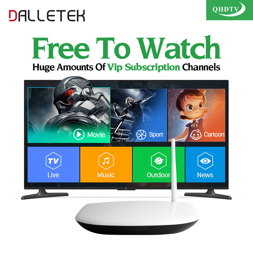 Dalletektv Europe Arabic Channels French Turkish IPTV Box 1 Year QHDTV Subscription Channels Italia Spain Android IPTV Top Box