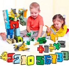 GUDI 15pcs new Creative Assembling Educational Action Figures Transformer Number Robot Deform Plane Car Birthday Kids gift Toys