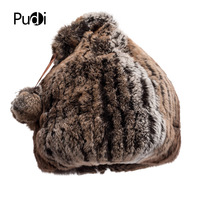 Pudi HF7033 Winter hats for women rex rabbit hair hat simple hair bulb design 2 colors can be selected comfortable and warm