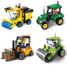[ Best ] 4set/lot Forklift Sweeper Car Truck Construction mini Educational Building Blocks + Figure Toys Compatible With Legoed(China)
