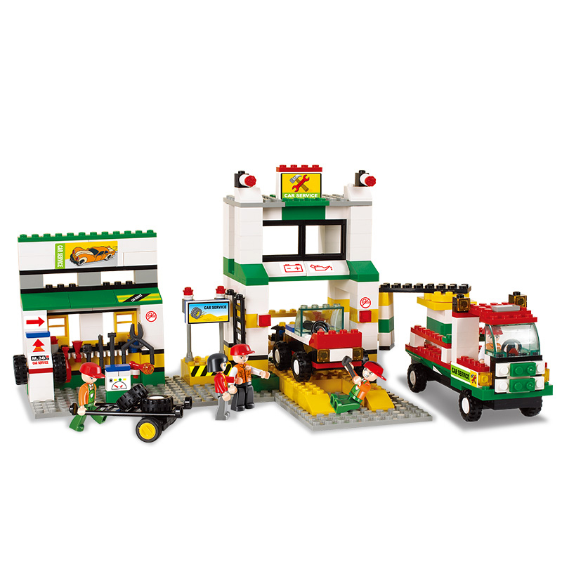 2500 SLUBAN SimCity Series Car Repair Station Model Building Blocks Enlighten Figure Toys For Children Compatible Legoe sluban 2500 block vehicle maintenance repair station 414pcs diy educational building toys for children compatible legoe