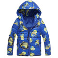 Дети Куртки миньонов Мальчики Девушка зимой вниз пальто 2017 Мода Детские cartoom Теплое Пальто зимы Малышей с капюшоном Пальто дети верхняя одежда