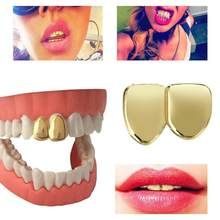 Hip Hop 2 Single Tooth Clip Top Bottom Plated Teeth Grills for Christmas Teeth Grillz Mouth Grills Body Jewelry for Women Man(China)