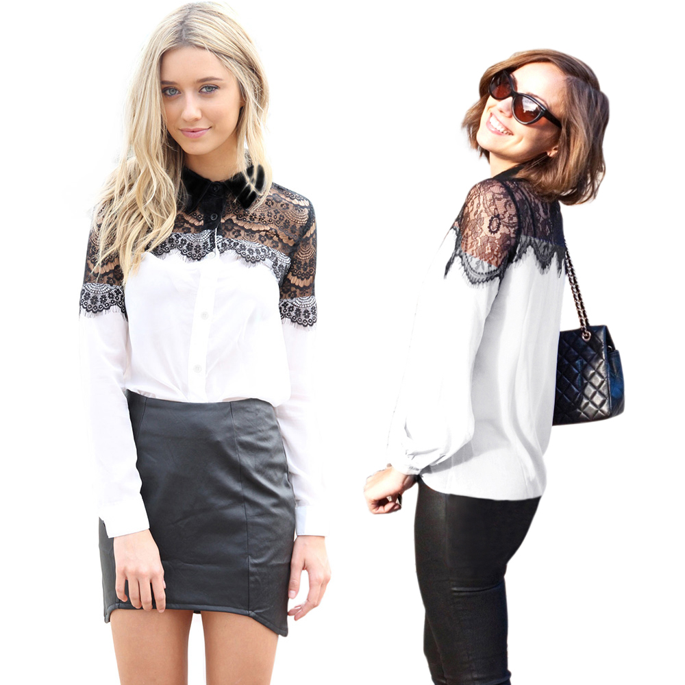 Brand white black women lace blouse long sleeve sheer for Top dress shirt brands