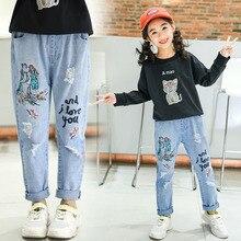 Baby Jeans Kids Girl Cute Cartoon Children Broken Hole Pants Light Blue Denim Trousers Flower Embroidery for Skinny Girls