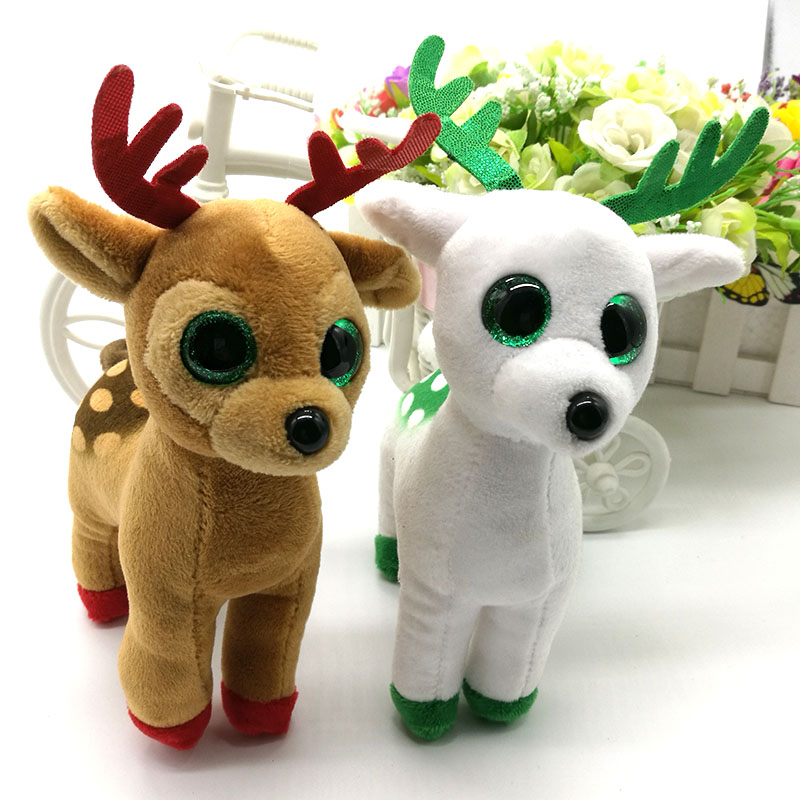 Ty Collection 1PC 15CM Peppermint Tinsel Elk Moose Sika Deer Plush Toys Stuffed Animals Soft Toys Christmas
