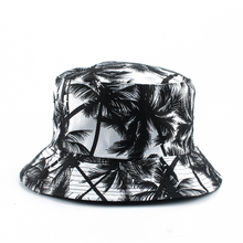 Panama Bucket Hat Men Women Summer Reversible Cap Coconut Tree Print chapeau Bob Hip Hop Gorros Fishing Fisherman