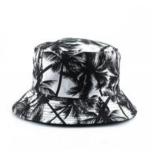 Chapeau seau réversible Panama pour hommes et femmes, casquette Bob d'été imprimé cocotier, chapeau Hip Hop Gorros, chapeau de pêcheur