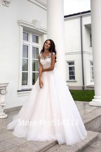Image 3 - Pink Lovely Wedding Dress Short Cap Sleeve Illusion Lace Button Applique Zipper A line Bridal Dress vestido de noiva
