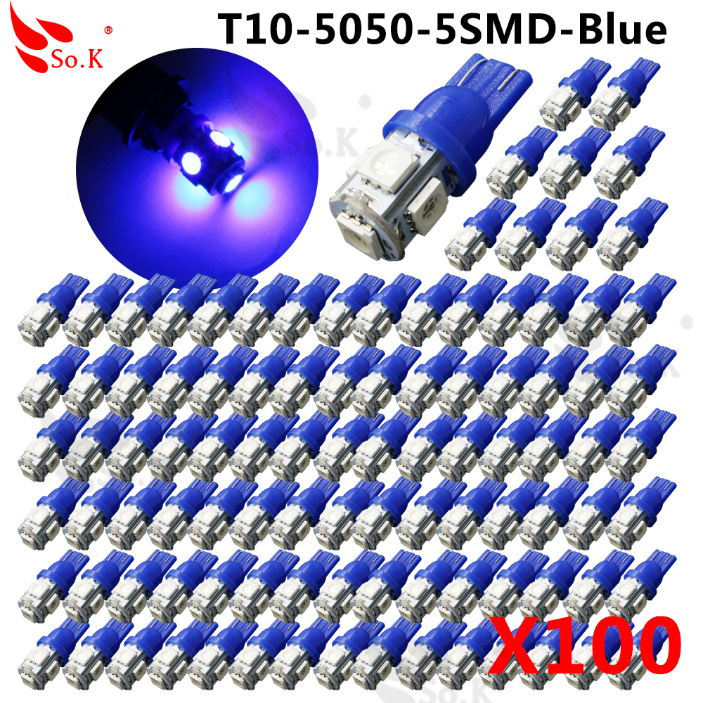100pcs Colorful T10 5 SMD 5050 LED 194 168 W5W Car Side Wedge Tail Light Lamp Bulb for car Parking Blue led License Plate Lights motorcycle tail tidy fender eliminator registration license plate holder bracket led light for ducati panigale 899 free shipping