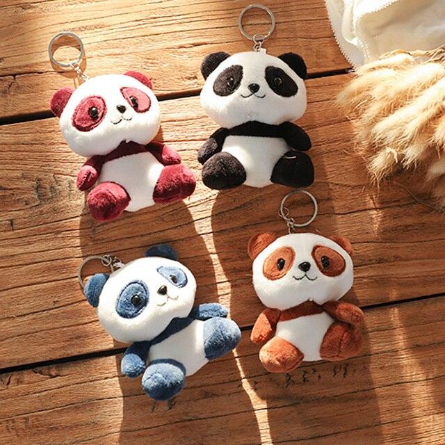 Adorable Panda animales muñecas 10CM bebé juguetes de peluche 4 colores llavero anillo colgante juguetes de peluche niños regalo
