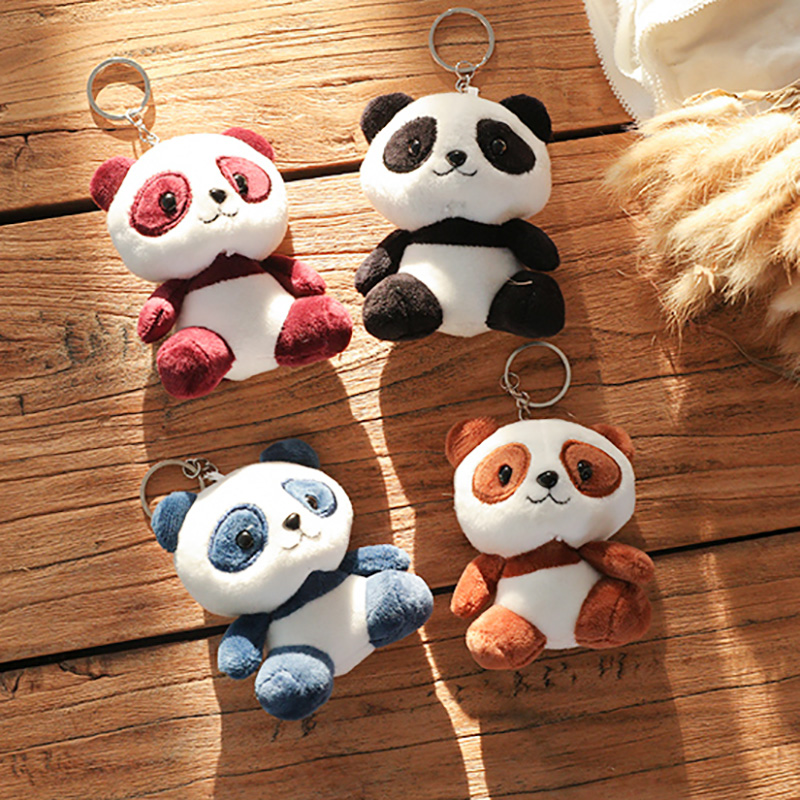 Lovely Panda Animal Dolls 10CM Baby Plush Toys 4 Colors Key Chain Ring Pendant Plush Toys Kids Gift