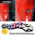 3pcs/lot For Mini Cooper R55 R56 Car Styling Accessories Door Lock Covers Decoration Sticker Grey Union Jack Checker