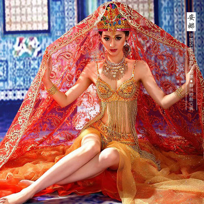 Anna Exotic Style Indian Princess Costume Saree for Photography or Stage Show Costume Hanfu
