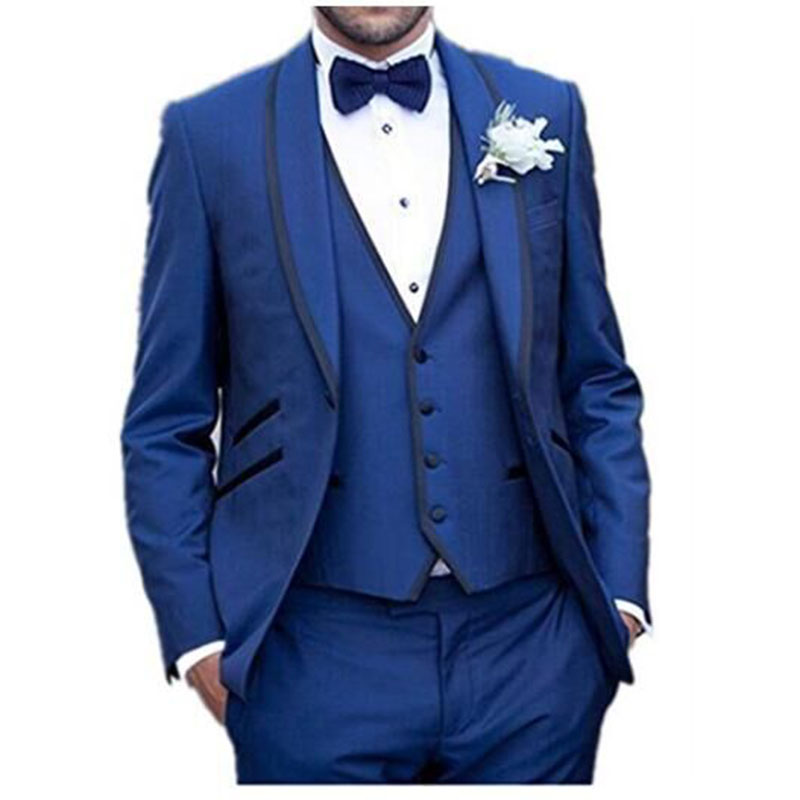 2017 Men's Clothing England Style Men Suit (Jacket+Pants+Vest) Blue Blazer Wedding Suits Slim Fit Tuxedo costume homme mariage