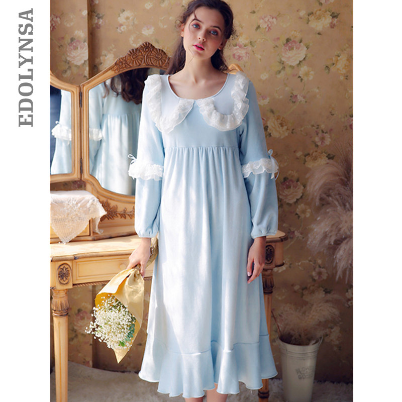 Retro Nightdress Victorian Style Plus Size Nightwear Long Nightgown Women 2019 Autumn Sleepwear Sleep Shirt Indoor