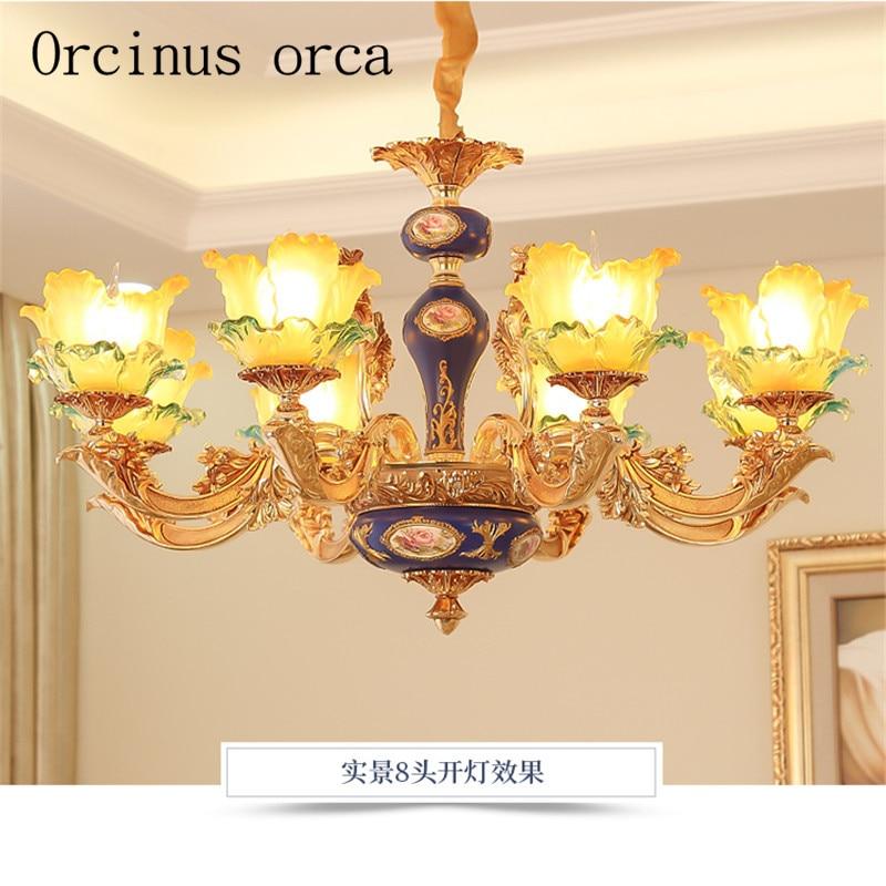 European luxury crystal chandelier living room dining room duplex building French atmosphere alloy jade pendant lamp